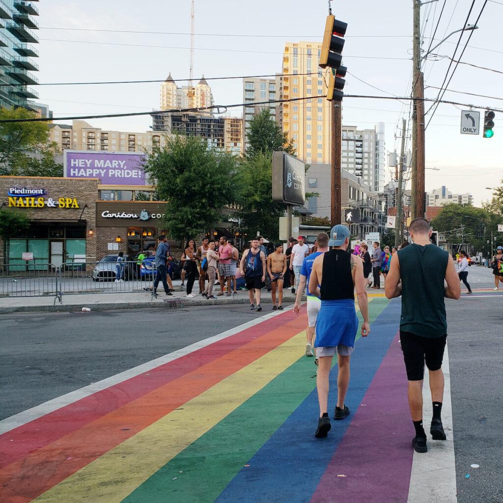 A crosswalk painted rainbow for Pride in Atlanta.