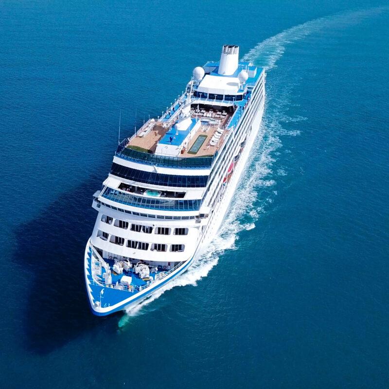 A cruise ship crossing the ocean.