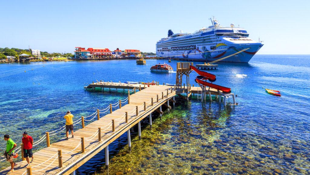 A cruise ship docked at Coxen Hole