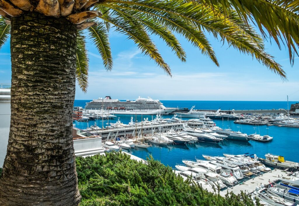 A cruise ship docked for an on-shore excursion in Monte Carlo.