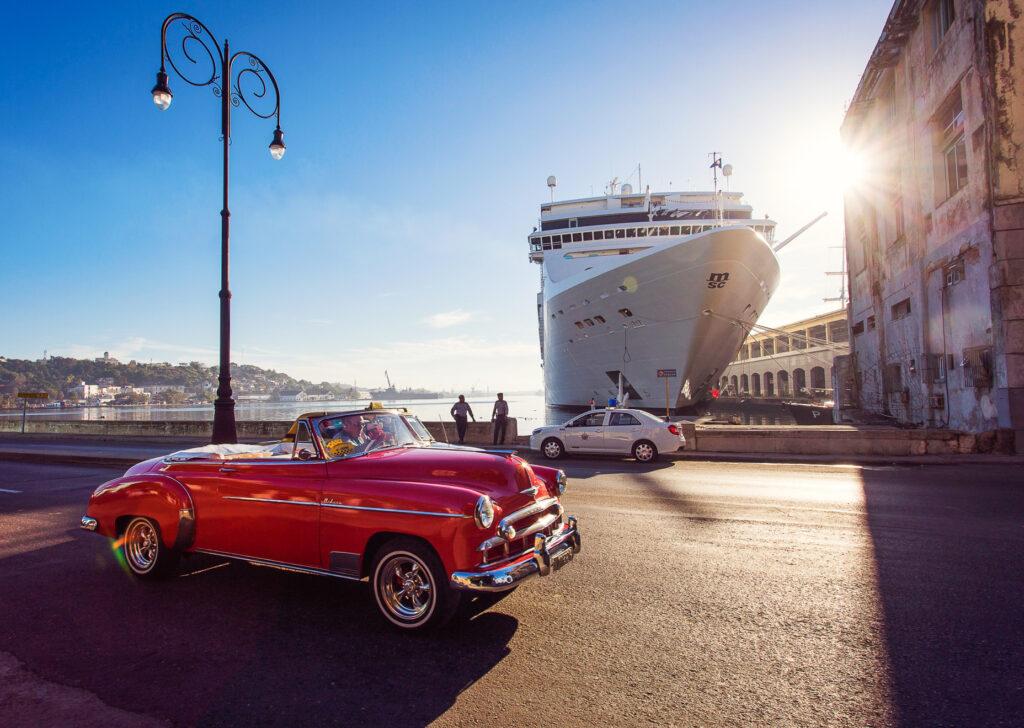A cruise ship docked in Havana, Cuba.