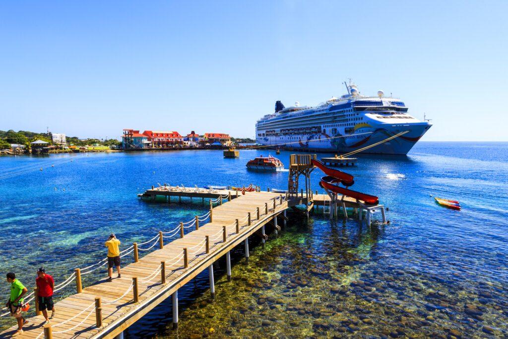 A cruise ship docked in Honduras.