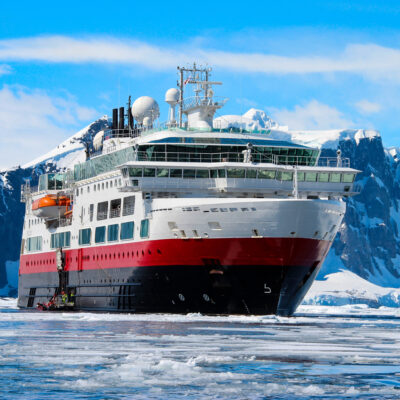 A cruise ship in Antarctica.