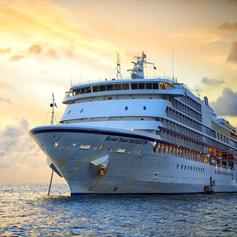 A cruise ship in the ocean.