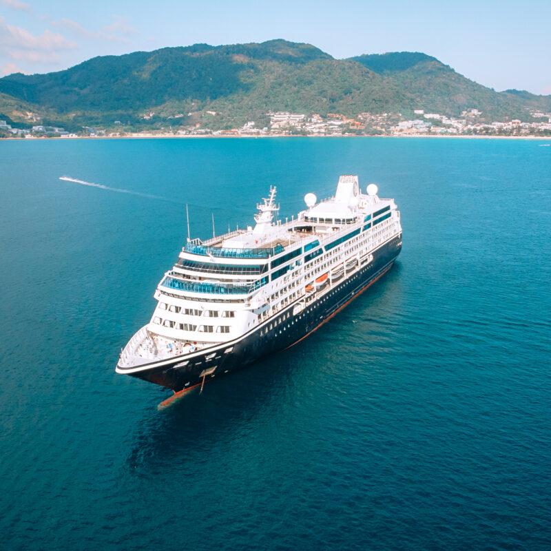 A cruise ship off the coast of Thailand.