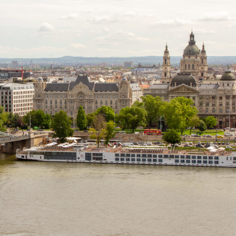 A Danube river cruise boat in Budapest, Hungary.