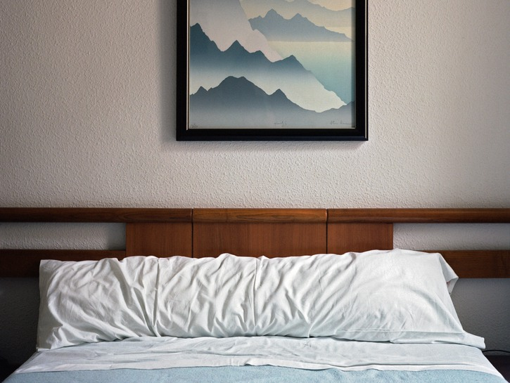 A dated-looking bed