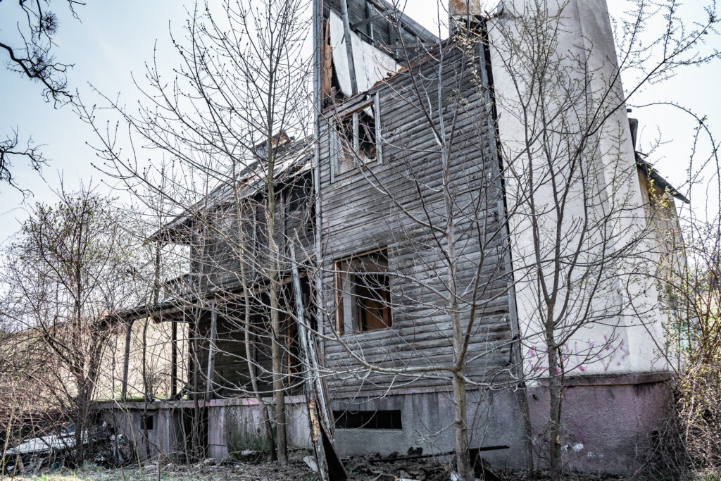 A dilapidated house in Hoia Baciu Forest in Romania