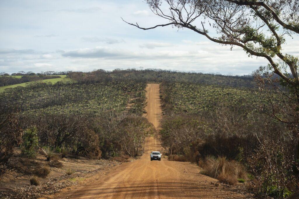 A dirt road on Kangaroo Island.
