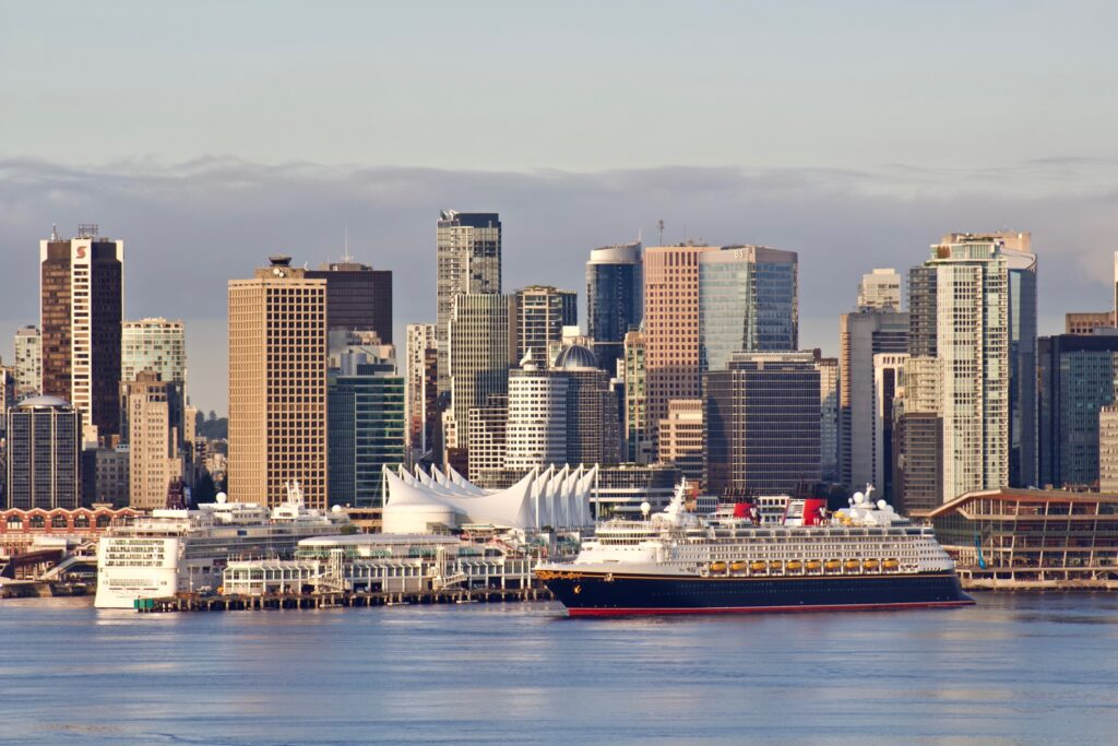 A Disney cruise ship docked in Vancouver.