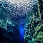 A diver near the Silfra fissure, Iceland.