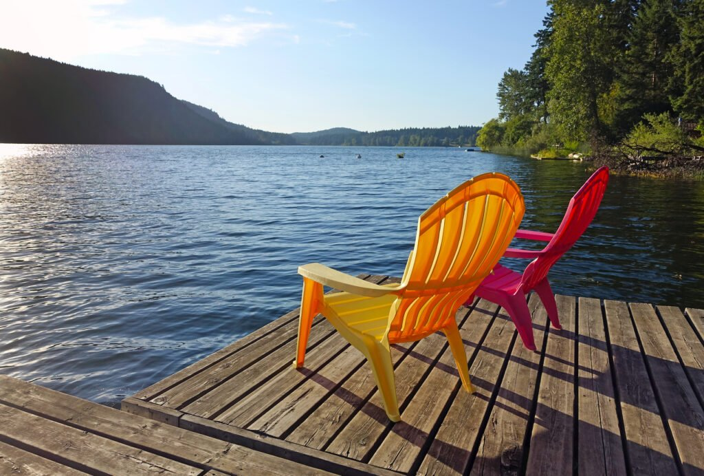 A dock on St. Mary Lake in Salt Spring Island.