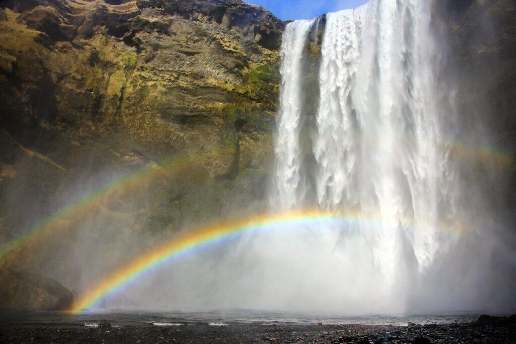A double rainbow at Skogafoss waterfall.