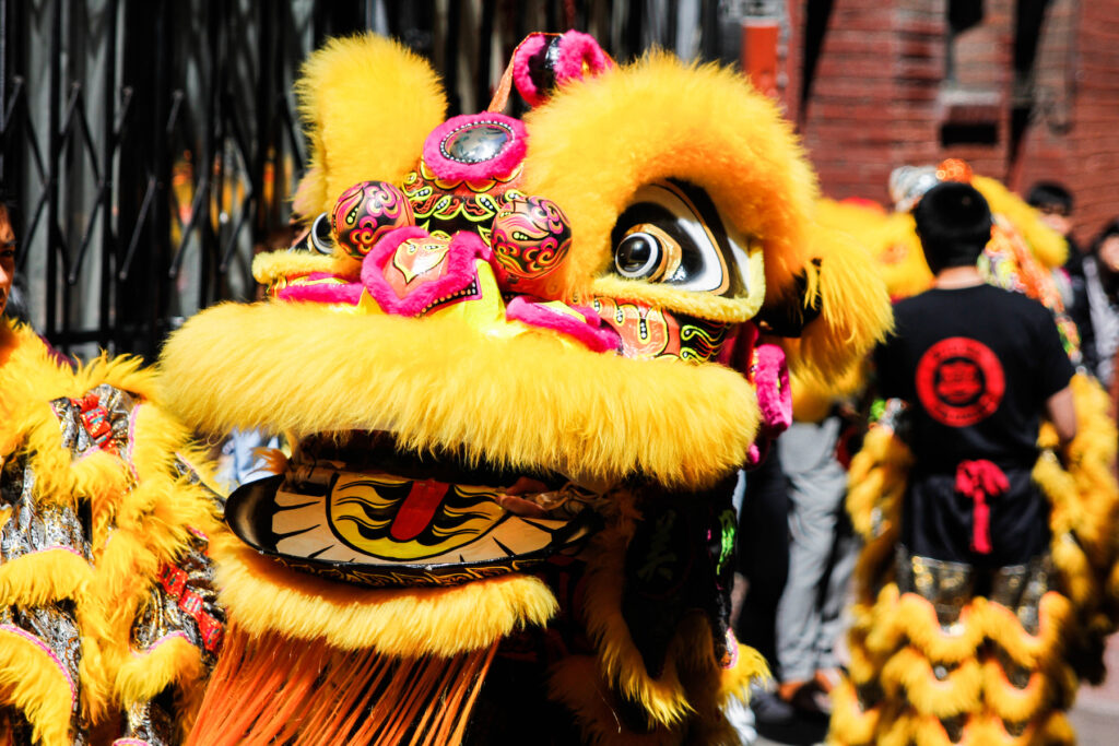 A dragon in a New Year parade in San Francisco's Chinatown.
