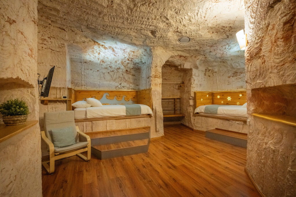 A dug-out bed and breakfast in Coober Pedy.