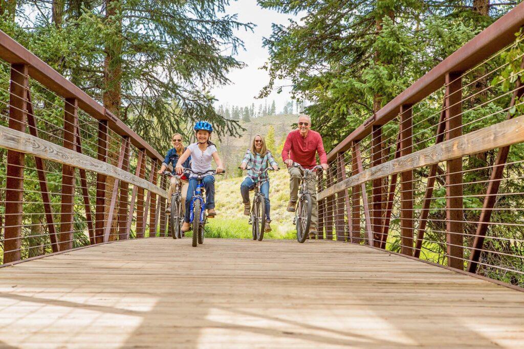 A family biking in Keystone, Colorado.