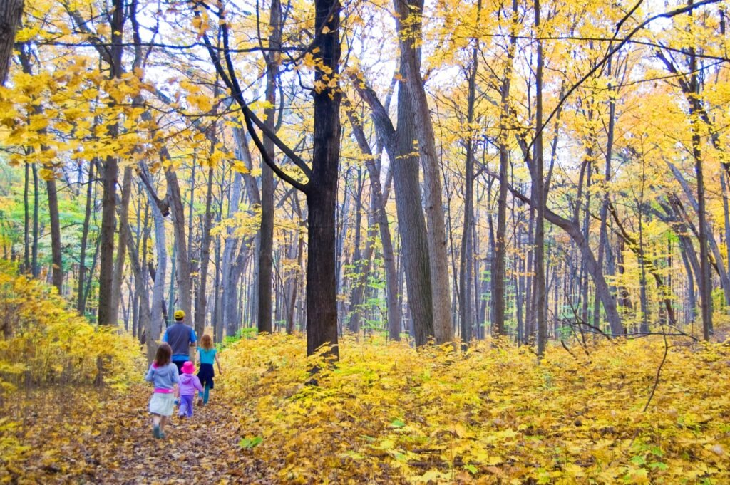 A family on a hike near Madison, Wisconsin.