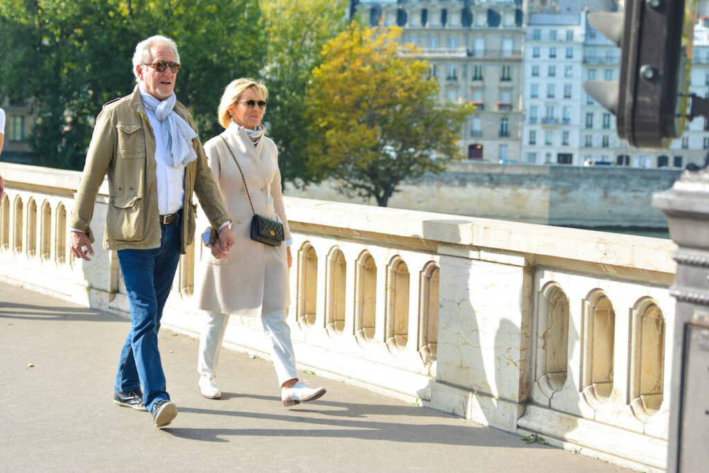 A fashionable couple in Paris.