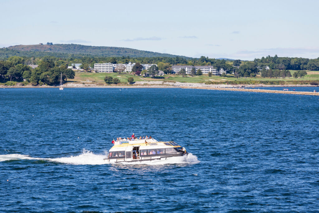 A ferry in the waters of Penobscot Bay, Maine.