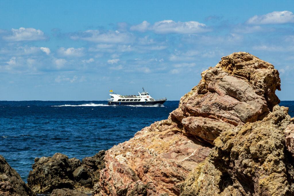 A ferry off the coast of Mallorca, Spain.