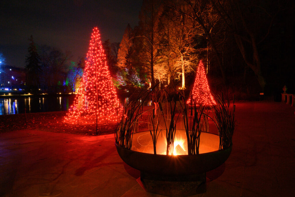 A fire pit at Longwood Gardens during Christmas time.