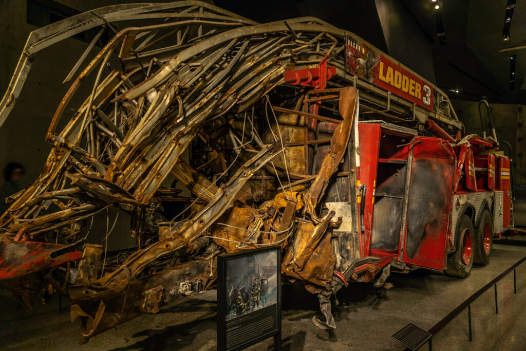 A firetruck at the 9/11 Memorial and Museum.