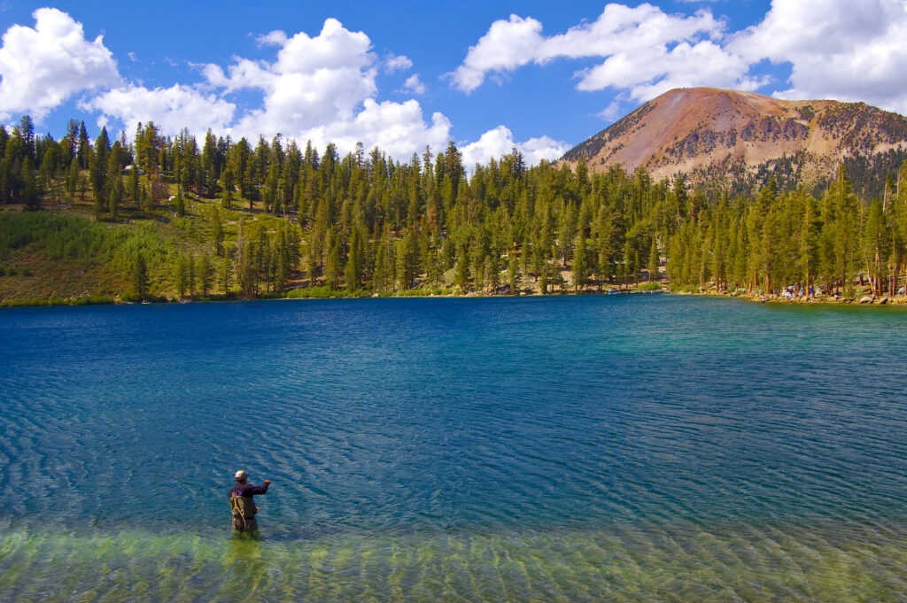 A fisherman at Lake George in the Mammoth Lakes.