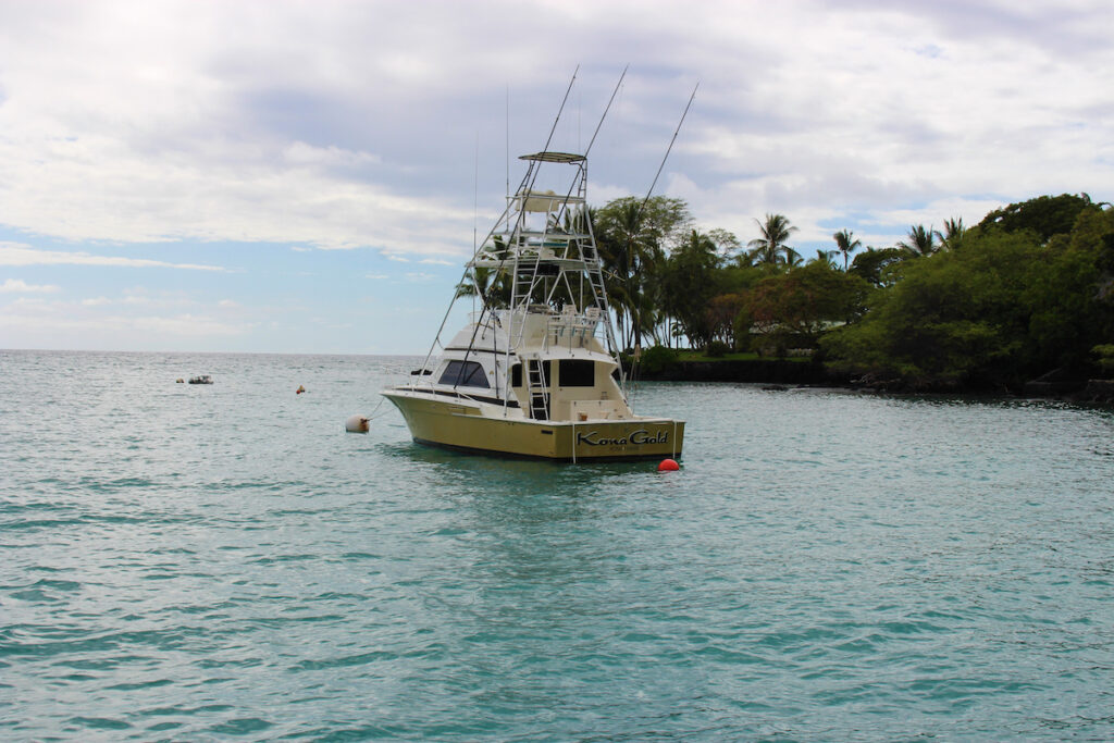A fishing boat off the coast of Kona, Hawaii.