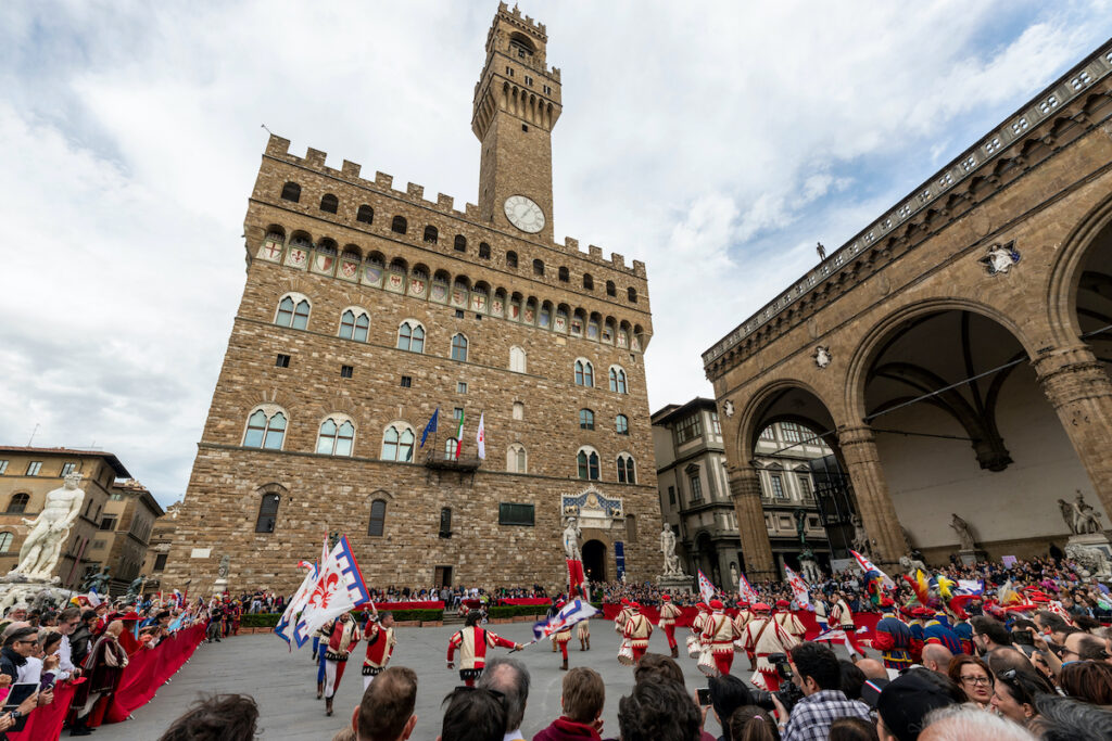 A flag festival in Florence, Italy.