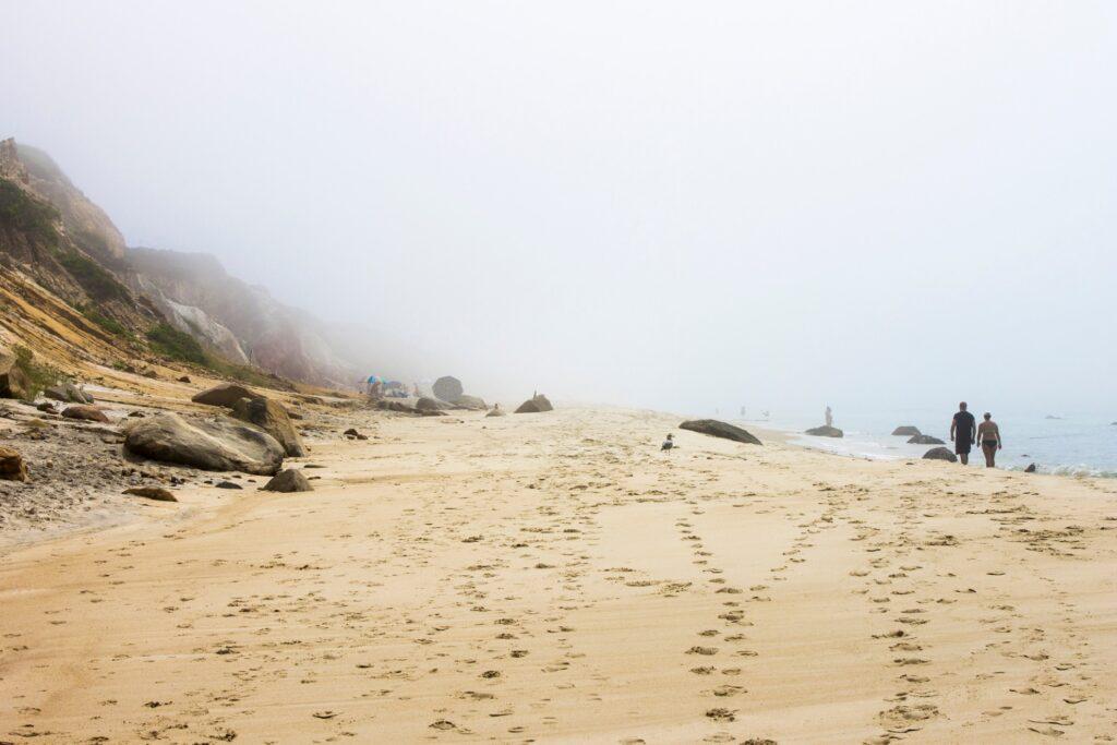 A foggy beach at Martha's Vineyard.