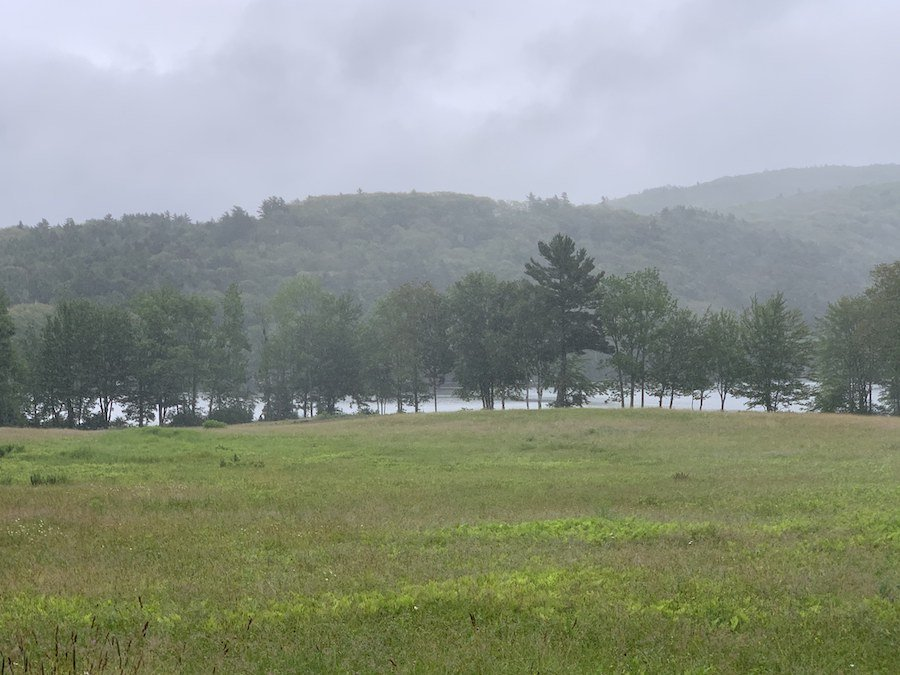 A foggy day at Megunticook Lake in Maine.