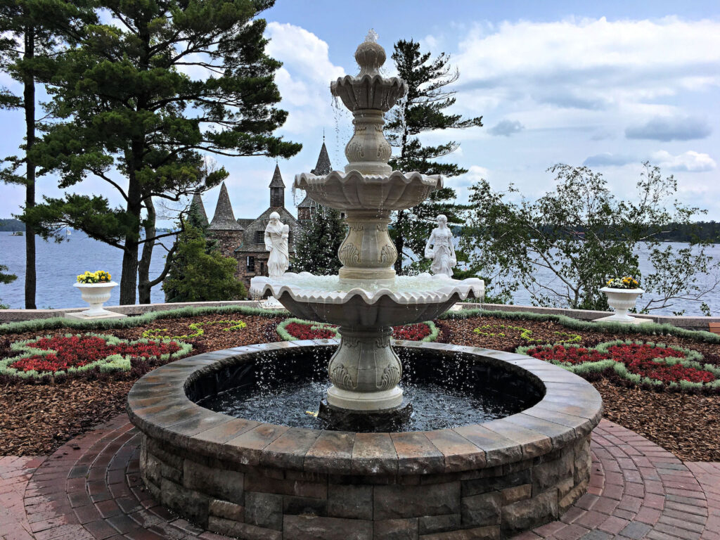 A fountain on the grounds of Boldt Castle.