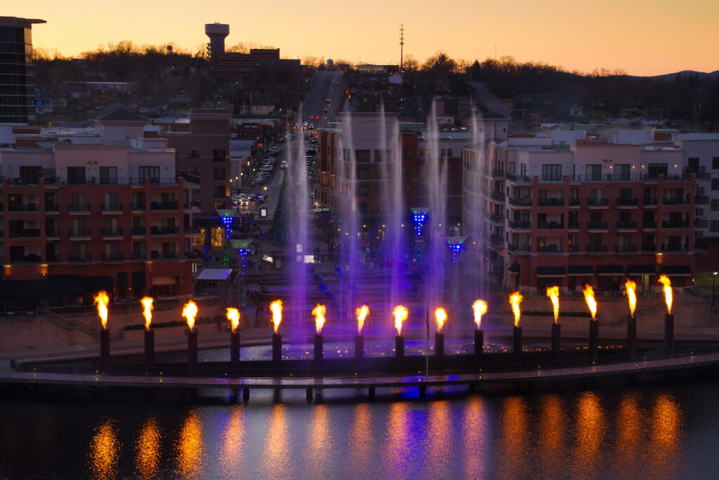 A fountain show in Brandon, Missouri.