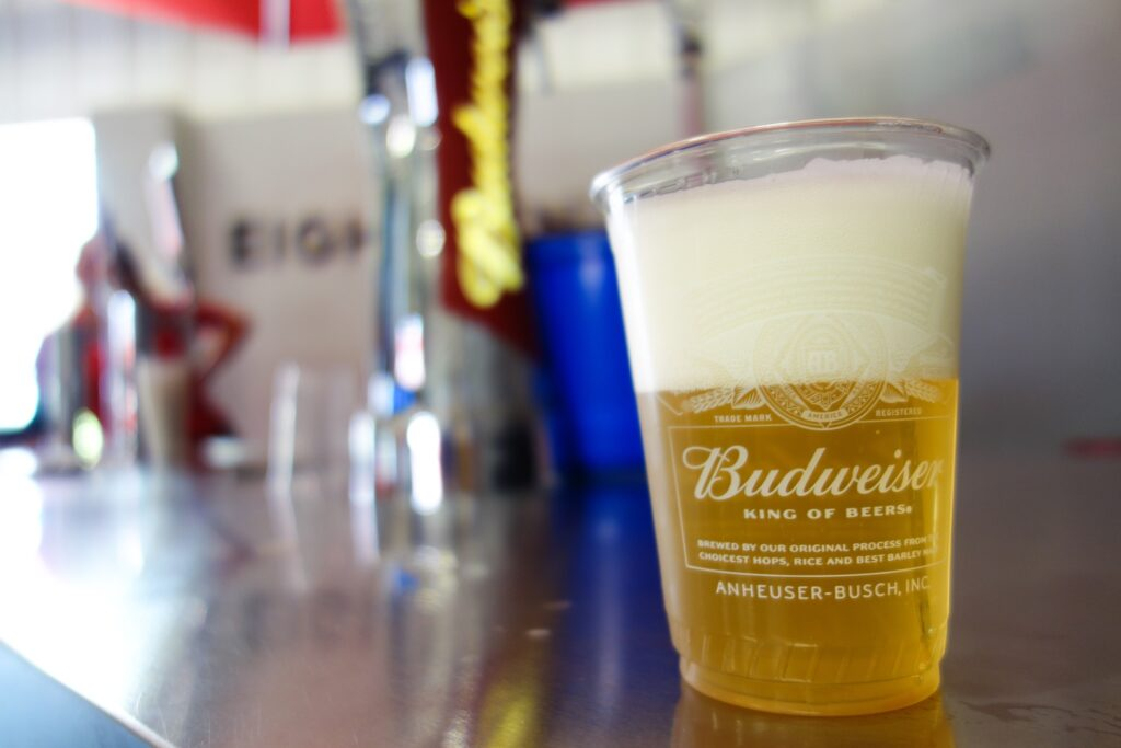 A free Budweiser sample at Warm Springs Ranch.