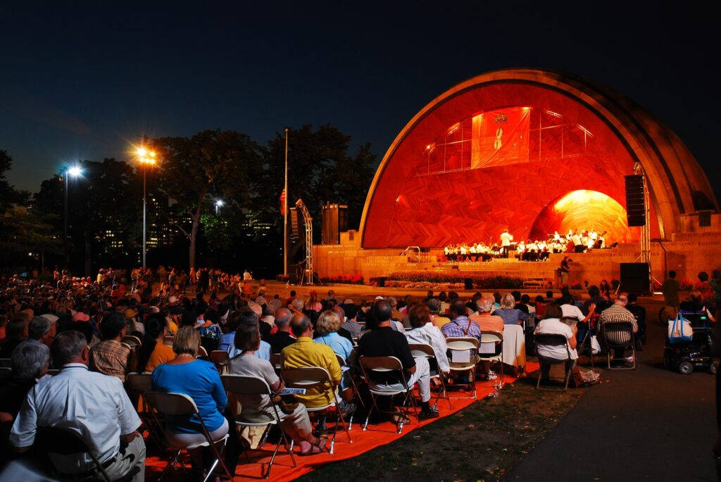 A free concert at the Hatch Shell in Boston.