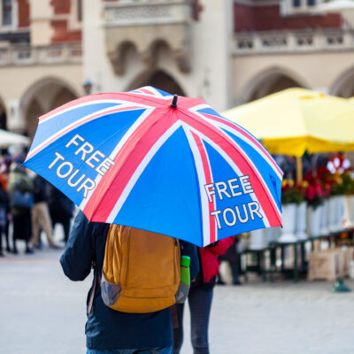 A free tour on Cracow Market Street in England.