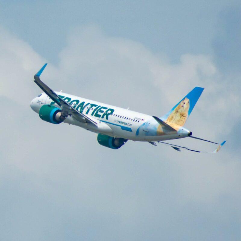 A Frontier plane in flight.