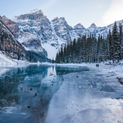 A frozen lake in Banff National Park.