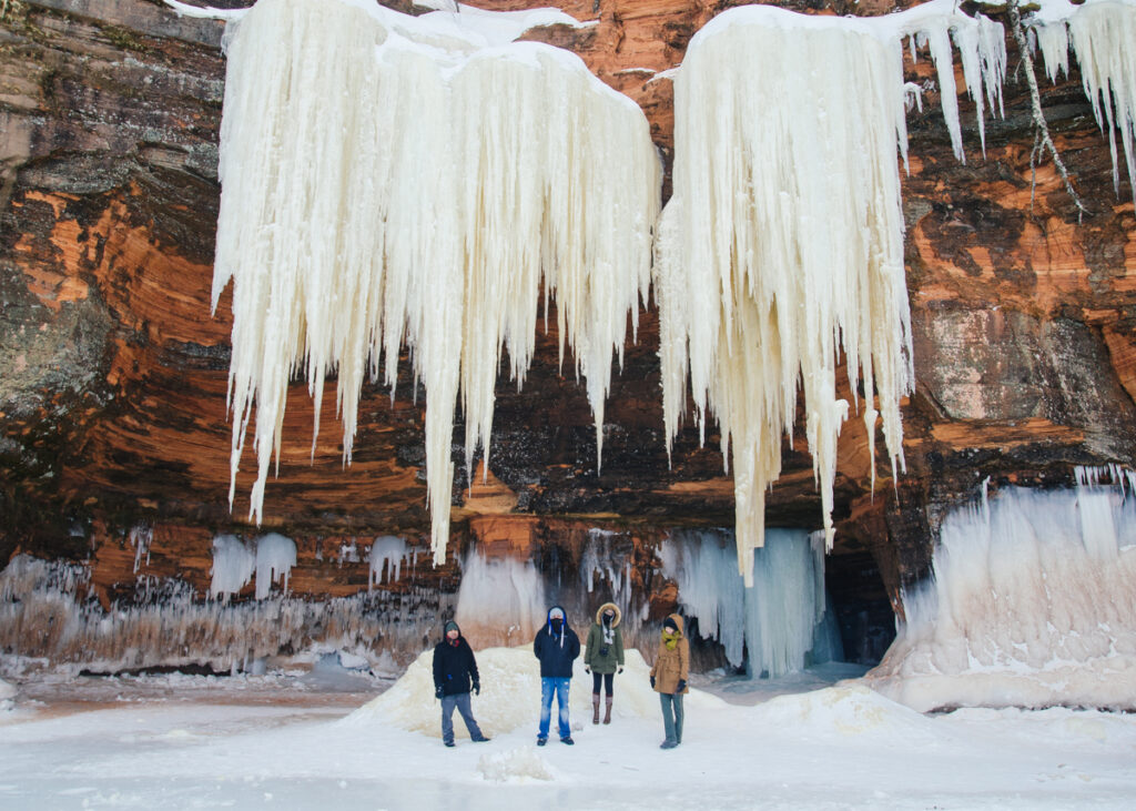 A frozen waterfall in the Apostle Islands.