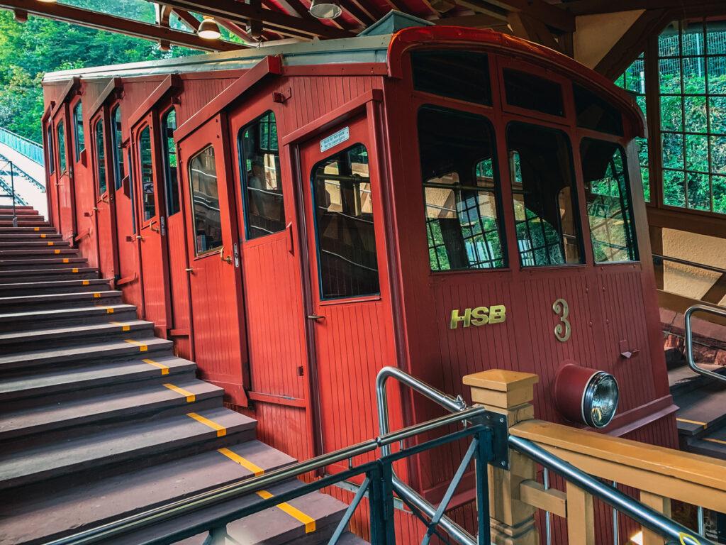 A funicular car in Heidelberg, Germany.