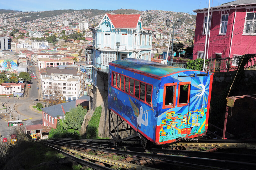 A funicular in Valparaiso, Chile.