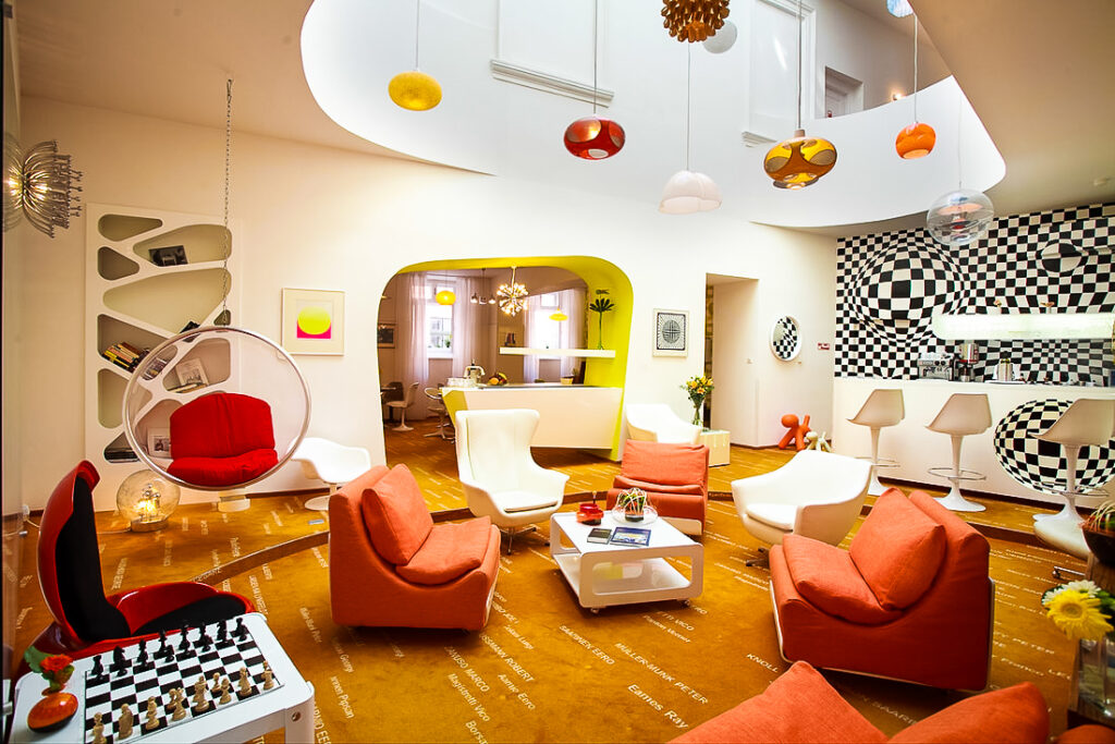 A funky room at the Vintage Design Hotel Sax in Prague.