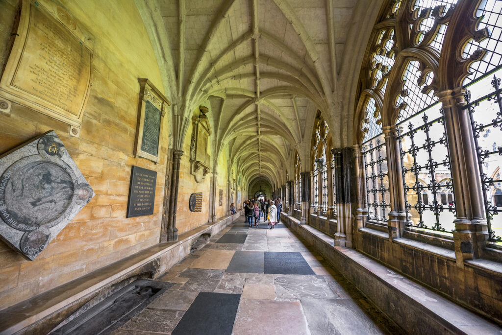 A gallery at Westminster Abbey in London.