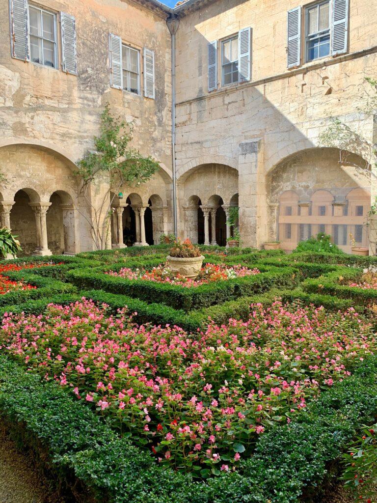 A garden enclosed in a courtyard.