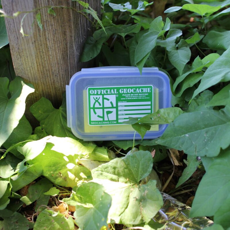 A geocache hidden in the woods.