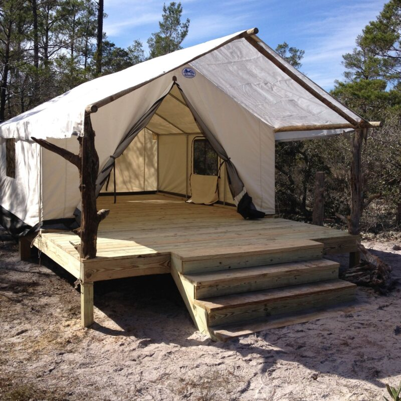 A glamping tent in Gulf State Park, Alabama.