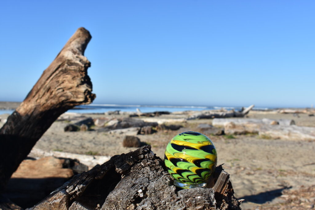A glass ball in Lincoln City as part of the Finders Keepers program.