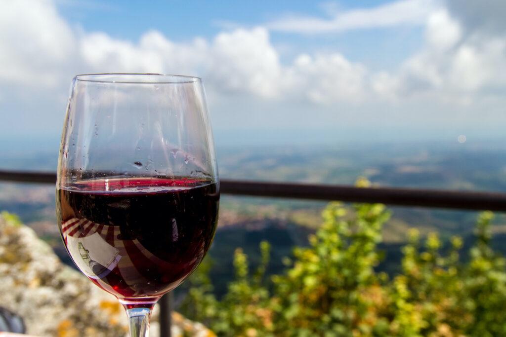 A glass of red Italian wine in San Marino.