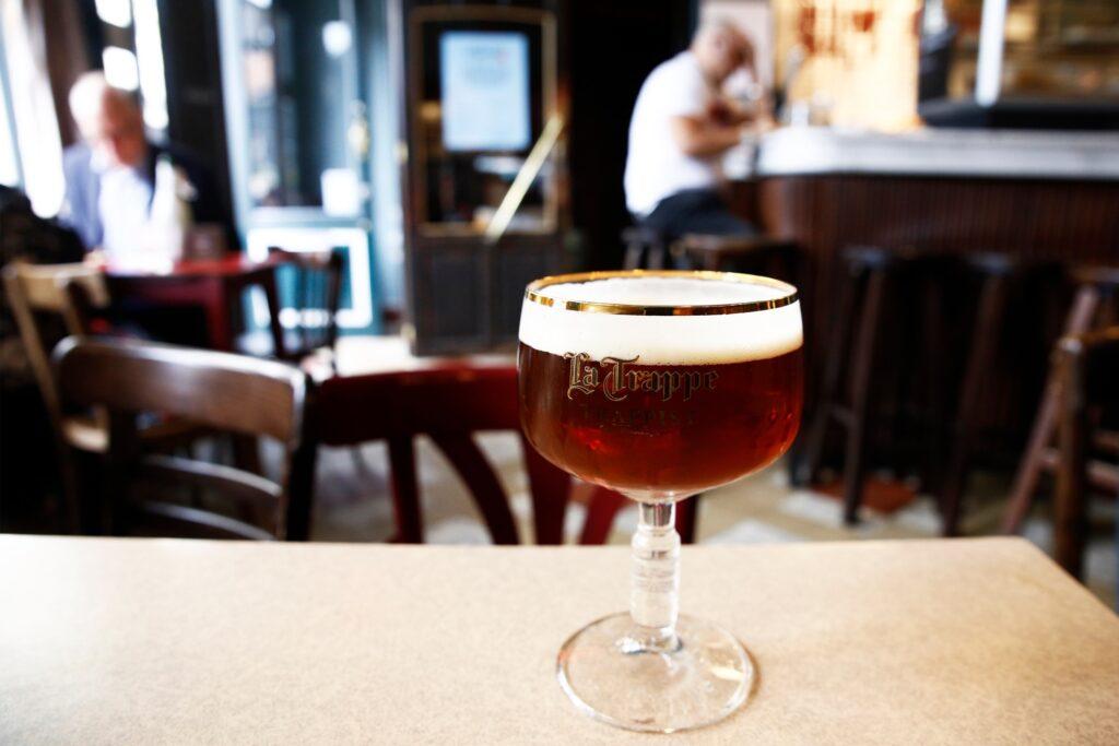 A glass of Westmalle Tripel in Belgium.
