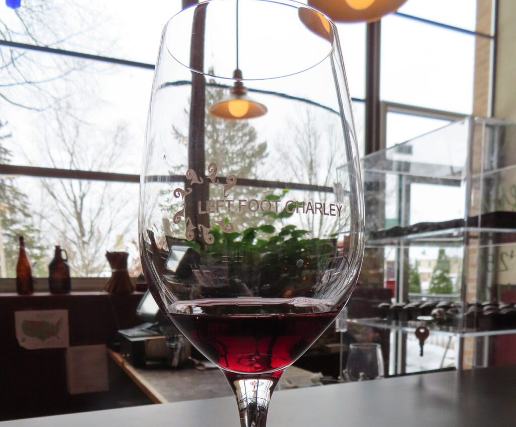 A glass of wine at Left Foot Charley Winery.